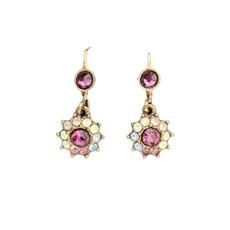 Michal Negrin Jewelry Crystal Purple Flower Power Hook Earrings