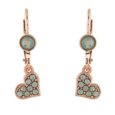 Michal Negrin Crystal Green Gold Heart Earrings