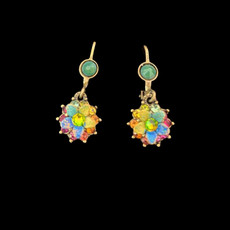 Michal Negrin Jewelry Crystal Multi Color Flower Power Hook Earrings