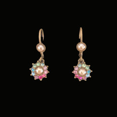 Michal Negrin Jewelry Crystal Pearl Flower Power Hook Earrings