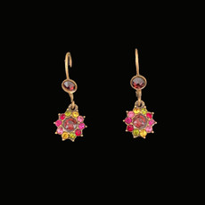 Michal Negrin Jewelry Crystal Red Center Flower Power Hook Earrings