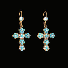 Michal Negrin Blue Cross Hook Earrings