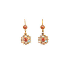 Michal Negrin Swarovski Crystals Multi Color Flower French Wire Earrings