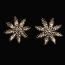 Michal Negrin The Crystal Blooms White Clip On Earrings