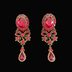 Michal Negrin My Bow Red Flowers Clip On Earrings