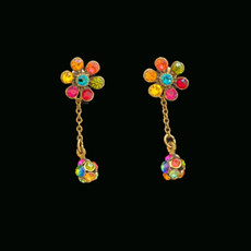 Michal Negrin Swarovski Crystals Disco Ball Post Earrings