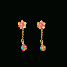 Michal Negrin Disco Ball Swarovski Crystals Post Earrings