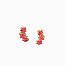 Michal Negrin Red Swarovski Crystals Flowers Post Earrings