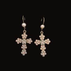 Michal Negrin Pearl Cross Hook Earrings