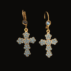 Michal Negrin Dark Blue Cross Hook Earrings