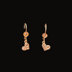 Michal Negrin Swarovski Crystals Rose Gold Heart Earrings