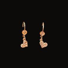 Michal Negrin Swarovski Crystals Rose Gold Heart Earrings