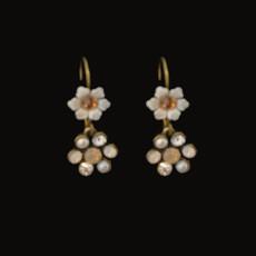 Michal Negrin Classic White Crystal Flower Hook Earrings