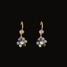 Michal Negrin Classic Blue Shade Crystal Flower Hook Earrings