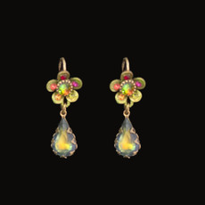 Michal Negrin Classic Crystal Flower Tear Drop Hook Earrings