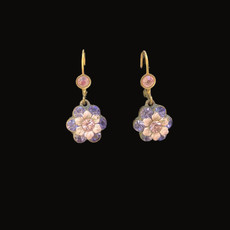 Michal Negrin Flower Purple and Pink Dangling Earrings