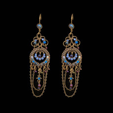 Michal Negrin Peacock Swarovski Crystals Wire Earrings