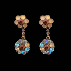 Michal Negrin Classic Brown Shade Crystal Flower Post Earrings
