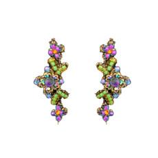 Michal Negrin Purple Green Lace Flowers Earrings