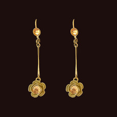 Michal Negrin Simple Rose Flower Dangle Earrings