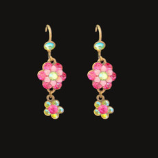 Michal Negrin Girls Have Fun Pink Swarovski Crystals Wire Earrings