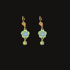 Michal Negrin Green Rose Blue Swarovski Crystals Wire Earrings