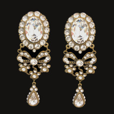 Michal Negrin My Bow White Flowers Clip On Earrings
