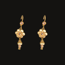Michal Negrin Peach Flowers French Wire Swarovski crystals Earrings