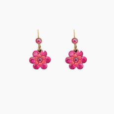Michal Negrin Flower hot Pink Dangling Earrings