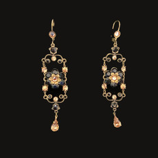 Michal Negrin Classic Crystal Flower Night Tear Drop Hook Earrings
