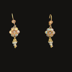 Michal Negrin Clear Flowers French Wire Swarovski crystals Earrings