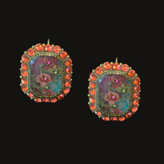 Michal Negrin Picture Rose Flower Swarovski Crystals Wire Earrings