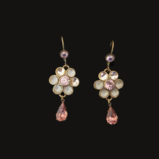 Michal Negrin Sparkle Pink Hook Earrings