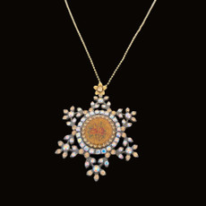 Michal Negrin Crystal Flowers Star of David Roses Necklace