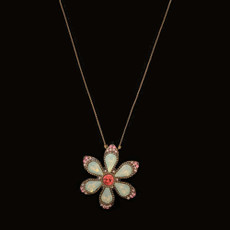 Michal Negrin Happy Flower Pink Crystals Necklace