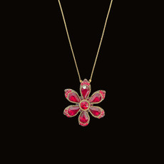 Michal Negrin Happy Flower Red Crystals Necklace