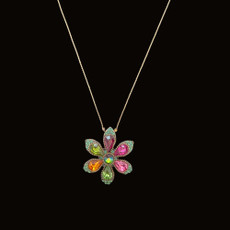 Michal Negrin Happy Flower Multi Color Pink Center Crystals Necklace