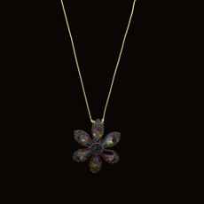 Michal Negrin Happy Purple Flower Blue Crystals Necklace