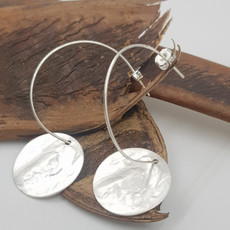 Anat Silver Hoops Disc Earrings Small