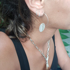 Anat Silver Hoops Disc Earrings