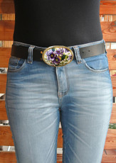 Iris Designs Floral Ameoba Belt Buckle