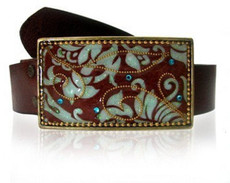 Iris Designs Swirling Vines Belt Buckle