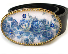Iris Designs Blue Vein Belt Buckle