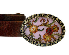 Iris Designs Burgundy Forest Belt Buckle