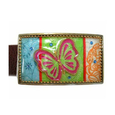 Iris Designs Green Butterfly Belt Buckle