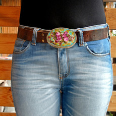 Iris Designs Pink Roses Belt Buckle
