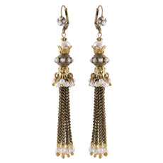 Michal Negrin Drapes White Earrings