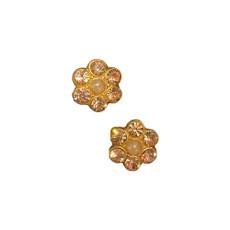 Michal Negrim Pearl Rose Gold Post Flower Earrings