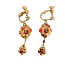 Michal Negrin Clip On Multi Flower Earrings