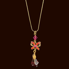 Michal Negrin Gift Bow Red Necklace